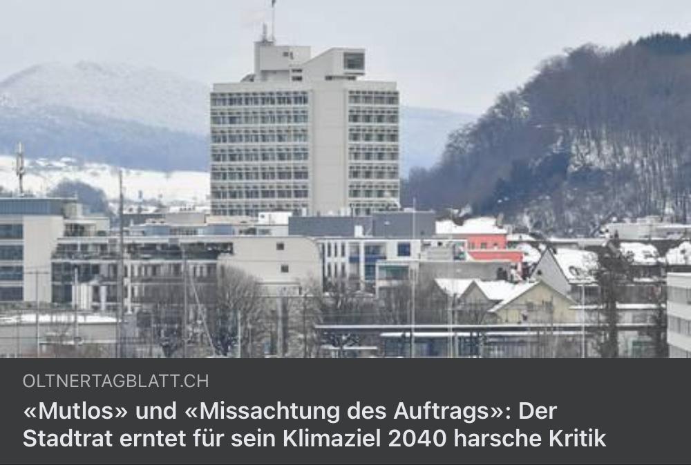 Ungenügende Massnahmen in der Klimastrategie der Stadt Olten!🌱👎🏽